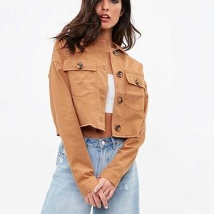 Missguided Trucker Tan Cropped Jacket